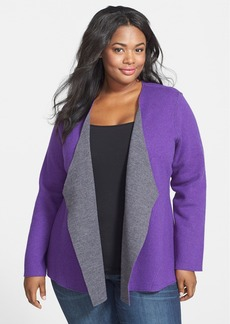 Eileen Fisher Double Knit Merino Blend Shaped Cardigan (Plus Size)