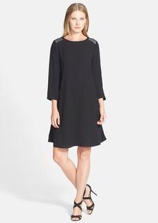 Eileen Fisher Embellished Silk Georgette Crepe Dress (Regular & Petite)