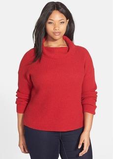 Eileen Fisher Funnel Neck Boxy Yak & Merino Sweater (Plus Size)