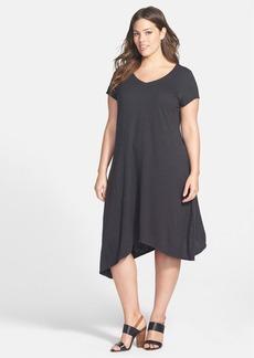 Eileen Fisher Hemp & Organic Cotton V-Neck Shift Dress (Plus Size)