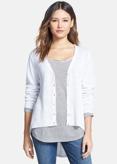 Eileen Fisher High/Low Hem Organic Linen V-Neck Cardigan (Regular & Petite)