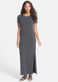 Eileen Fisher Jewel Neck Side Slit Jersey Maxi Dress