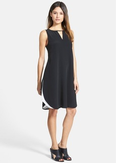 Eileen Fisher Keyhole Detail Double Layer Silk Shift Dress (Regular & Petite)