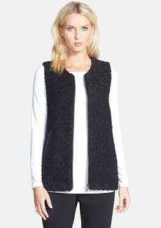 Eileen Fisher Leather Trim Alpaca Blend Vest