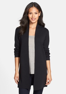 Eileen Fisher Long Wool Crepe Jersey Cardigan (Regular & Petite)