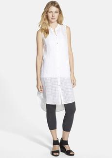 Eileen Fisher Mandarin Collar Linen Shirtdress (Regular & Petite) (Online Only)