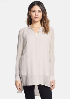 Eileen Fisher Mandarin Collar Long Silk Shirt (Regular & Petite)