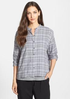 Eileen Fisher Mandarin Collar Plaid Shirt (Regular & Petite)
