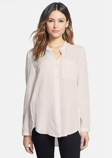 Eileen Fisher Mandarin Collar Silk & Cotton Shirt (Regular & Petite)