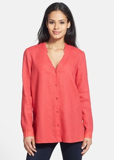 Eileen Fisher Mandarin Collar V-Neck Linen Shirt