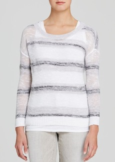 Eileen Fisher Open Knit Striped Sweater