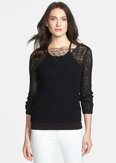 Eileen Fisher Open Stitch V-Neck Sweater
