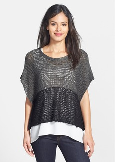 Eileen Fisher Open Twist Colorblock Poncho Top