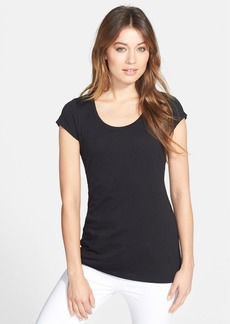 Eileen Fisher Organic Cotton Long Scoop Neck Tee (Regular & Petite)