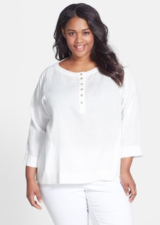 Eileen Fisher Organic Cotton Round Neck Top (Plus Size)