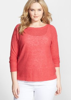 Eileen Fisher Organic Linen & Cotton Boat Neck Slub Sweater (Plus Size)