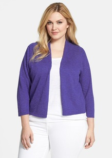 Eileen Fisher Organic Linen & Cotton Crop Cardigan (Plus Size)