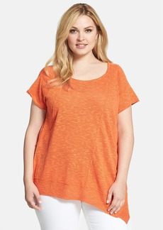 Eileen Fisher Organic Linen & Cotton Scoop Neck Cap Sleeve Top (Plus Size)