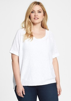 Eileen Fisher Organic Linen & Cotton Scoop Neck Tee (Plus Size)