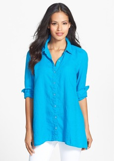 Eileen Fisher Organic Linen Classic Collar Boxy Shirt (Petite)