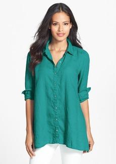 Eileen Fisher Organic Linen Classic Collar Boxy Shirt (Regular & Petite)