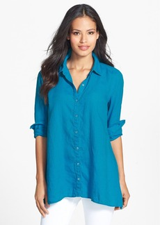 Eileen Fisher Organic Linen Classic Collar Boxy Shirt (Regular & Petite)