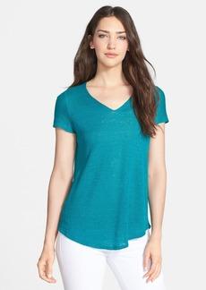 Eileen Fisher Organic Linen V-Neck Top (Petite)