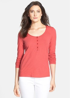 Eileen Fisher Scoop Neck Organic Cotton Henley Tee