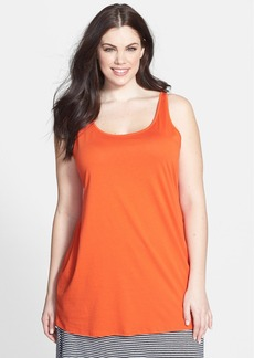 Eileen Fisher Scoop Neck Organic Cotton Long Tank (Plus Size)