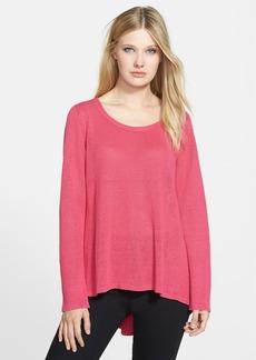 Eileen Fisher Scoop Neck Organic Linen High/Low Sweater