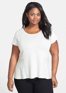 Eileen Fisher Scoop Neck Silk & Cotton Peplum Top (Plus Size)