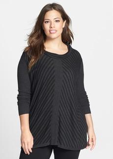 Eileen Fisher Scrunch Neck Stripe Sweater (Plus Size)