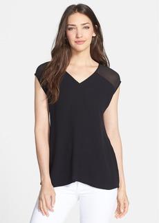Eileen Fisher Sheer Shoulder Silk V-Neck Top (Regular & Petite)