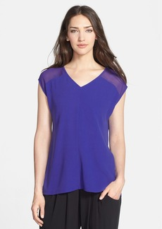 Eileen Fisher Sheer Shoulder Silk V-Neck Top (Regular & Petite)