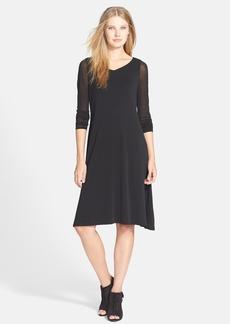 Eileen Fisher Sheer Sleeve Silk Jersey Dress (Regular & Petite)