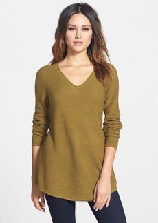 Eileen Fisher Shirttail Hem V-Neck Merino Sweater