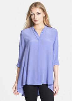 Eileen Fisher Silk Crêpe de Chine Mandarin Collar Tunic