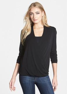 Eileen Fisher Silk Jersey Drape Surplice Top (Regular & Petite)