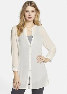 Eileen Fisher Silk Mandarin Collar Tunic Top (Online Only)