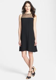 Eileen Fisher Sleeveless Lace Yoke Silk Shift Dress