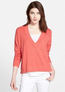 Eileen Fisher Slub Cotton V-Neck Pullover (Regular & Petite) (Online Only)