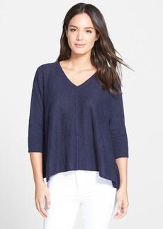 Eileen Fisher Slub Knit V-Neck Sweater (Regular & Petite)