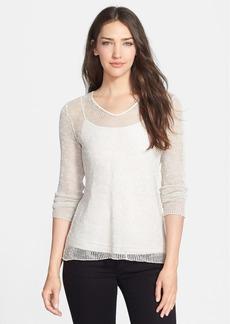 Eileen Fisher Soft Mesh Knit V-Neck Top (Regular & Petite)