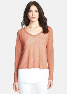 Eileen Fisher Soft V-Neck Linen Top (Petite)