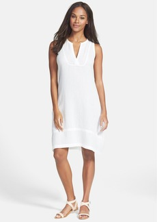 Eileen Fisher Split Neck Crinkled Organic Cotton Dress