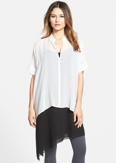 Eileen Fisher Stand Collar Boxy Silk Top (Regular & Petite) (Online Only)