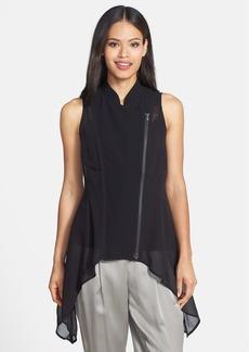 Eileen Fisher Stand Collar Front Zip Silk Vest