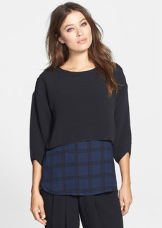 Eileen Fisher The Fisher Project Textured Jewel Neck Crop Top