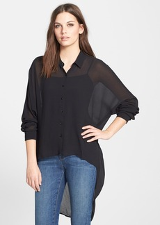 Eileen Fisher The Fisher Project Crinkled Silk Crepe High-Low Shirt