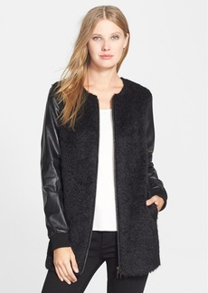 Eileen Fisher The Fisher Project Sheared Alpaca Blend Topper with Leather Sleeves